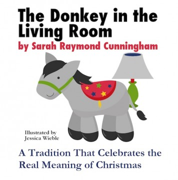 elf on the shelf, elf on the shelf ideas, donkey in the living room, donkey living room