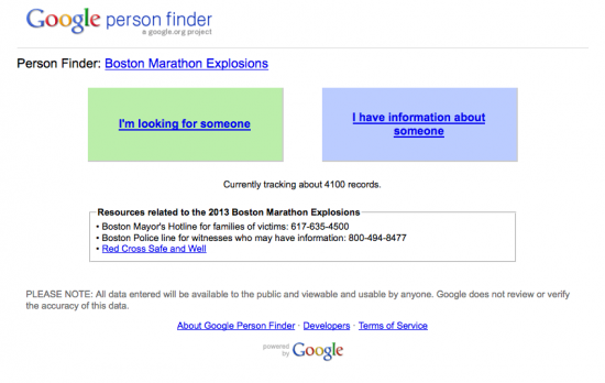 Google Person Finder Boston Marathon