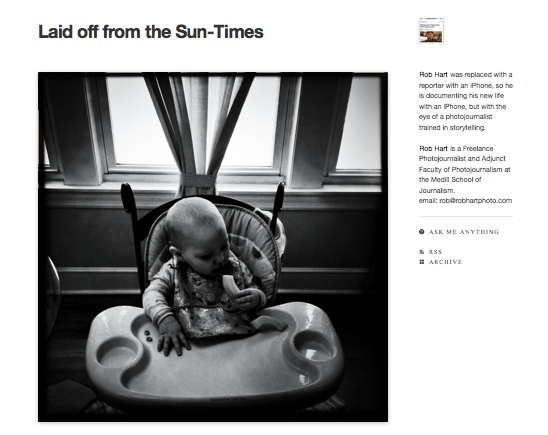Chicago Sun Times lay off photographers Rob Hart tumblr