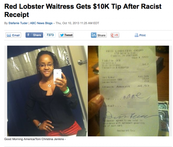 Customer Racist Comment Restaurant Bill Waitress Gets Tip